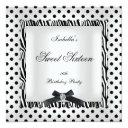 sweet sixteen 16 party black white polka dot image invitations