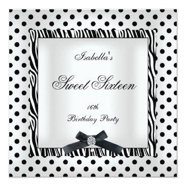 Small Sweet Sixteen 16 Party Black White Polka Dot Image Front View