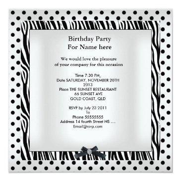Small Sweet Sixteen 16 Party Black White Polka Dot Image Back View