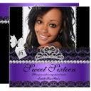 sweet sixteen 16th purple silver photo black lace invitations