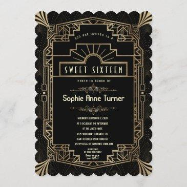 sweet sixteen | art deco gold great gatsby 1920s invitation