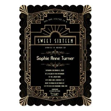 Small Sweet Sixteen   Art Deco Gold Great Gatsby 1920s Invitation Front View