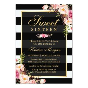 Small Sweet Sixteen Beautiful Floral Black White Stripes Invitations Front View
