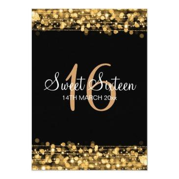 Small Sweet Sixteen Birthday Party Sparkles Gold Invitations Back View