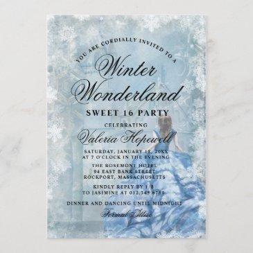 sweet sixteen blue winter wonderland princess invitation