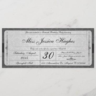 sweet sixteen damask ticket invitation