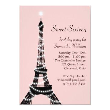 Small Sweet Sixteen Eiffel Tower Invitations Front View