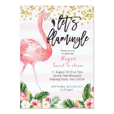 Small Sweet Sixteen Flamingo Invitation Front View