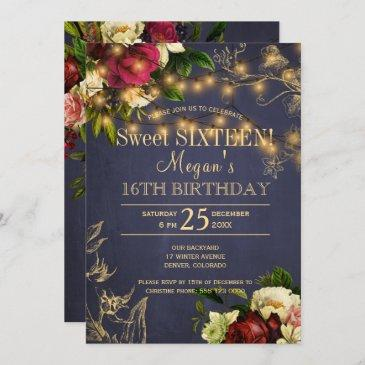 sweet sixteen gold lights floral winter rustic invitation