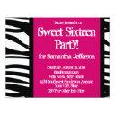 sweet sixteen, hot pink zebra invitation
