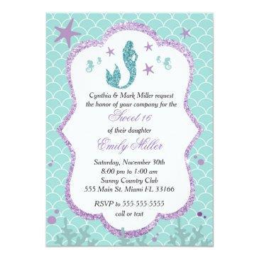 sweet sixteen invitation mermaid purple teal