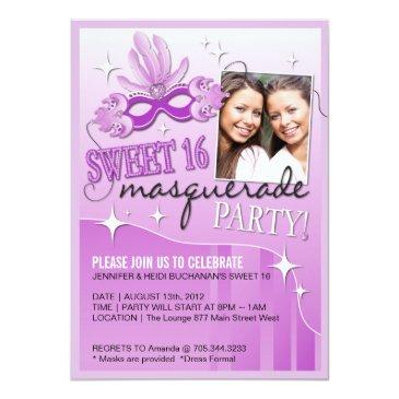 Small Sweet Sixteen Masquerade Invitation Front View