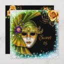 sweet sixteen masquerade mardi gras gold green invitation