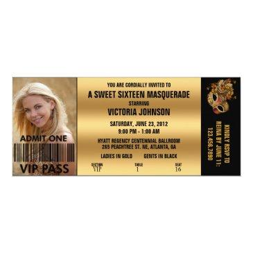 sweet sixteen masquerade vip admission ticket invitations