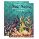 sweet sixteen mermaid and seahorse under the sea invitation