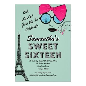 Small Sweet Sixteen Paris Theme Birthday Invitation Invitations Front View