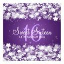 sweet sixteen party dazzling stars purple invitation