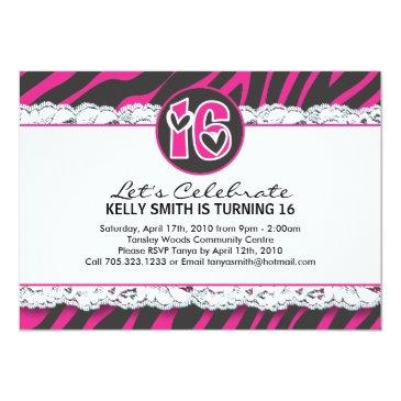 Small Sweet Sixteen Party Invitation Front View