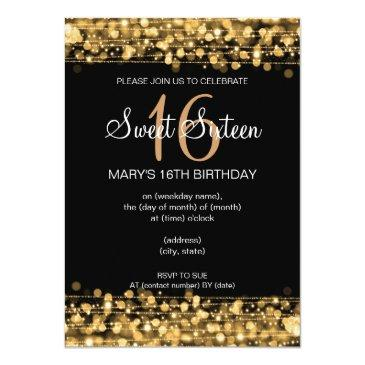 Small Sweet Sixteen Party Sparkles Gold Invitations Front View