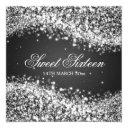 sweet sixteen party sparkling wave black invitation