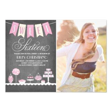 sweet sixteen photo   birthday invitation