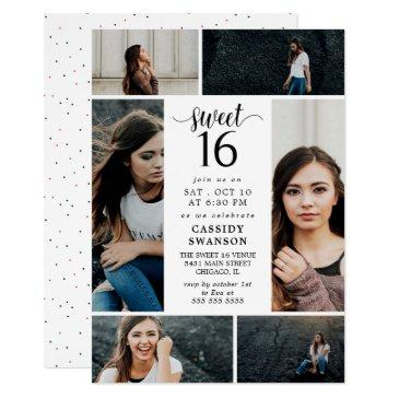 sweet sixteen photo collage invitation