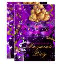 sweet sixteen purple gold black masquerade party invitation