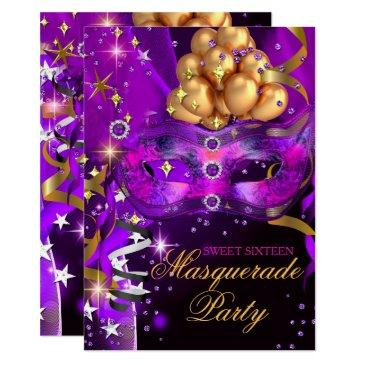 sweet sixteen purple gold black masquerade party