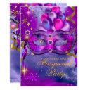 sweet sixteen purple gold blue masquerade party invitation
