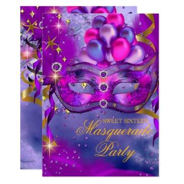 sweet sixteen purple gold blue masquerade party