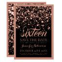sweet sixteen save the date rose gold midnight invitation