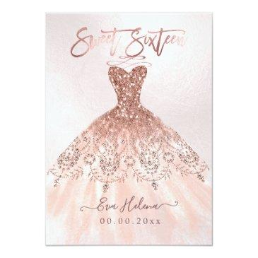 Small Sweet Sixteen, Sparkle Gown, Faux Rose Gold Invitations Front View