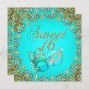 sweet sixteen sweet 16 masquerade gold teal invitation