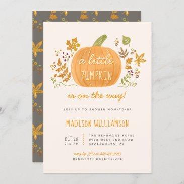 sweet watercolor fall little pumpkin baby shower invitation