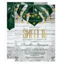 swiss cheese leaf string lights lace gold sweet 16 invitation