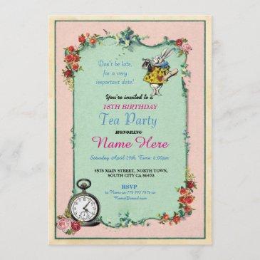 tea party 18th birthday alice in wonderland invite