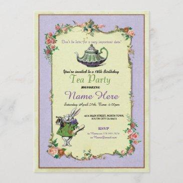 tea party birthday alice in wonderland invitation