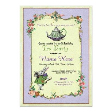 tea party birthday alice in wonderland invitation