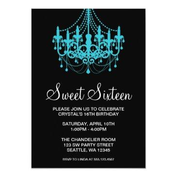 Small Teal And Black Chandelier Sweet Sixteen Birthday Invitations Front View