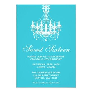 teal and white chandelier sweet sixteen birthday invitation