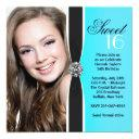 teal black white photo sweet 16 birthday party invitation
