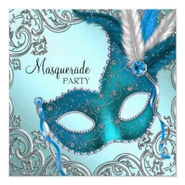 Small Teal Blue And Silver Mask Masquerade Party Invitations Front View