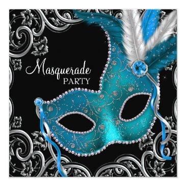 teal blue black masquerade party invitation