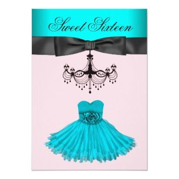 Small Teal Blue Chandelier Sweet Sixteen Birthday Party Invitation Front View