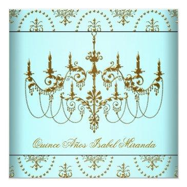 teal blue gold chandelier quinceanera