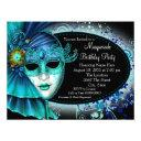 teal blue midnight masquerade party invitations