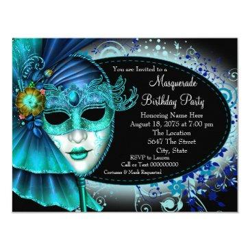 teal blue midnight masquerade party invitation