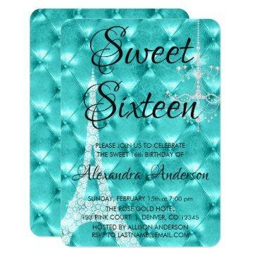 teal blue paris sweet sixteen birthday party invitations