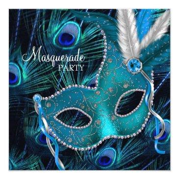 teal blue peacock mask masquerade party