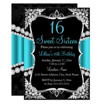 teal blue silver black tiara sweet 16 invitation